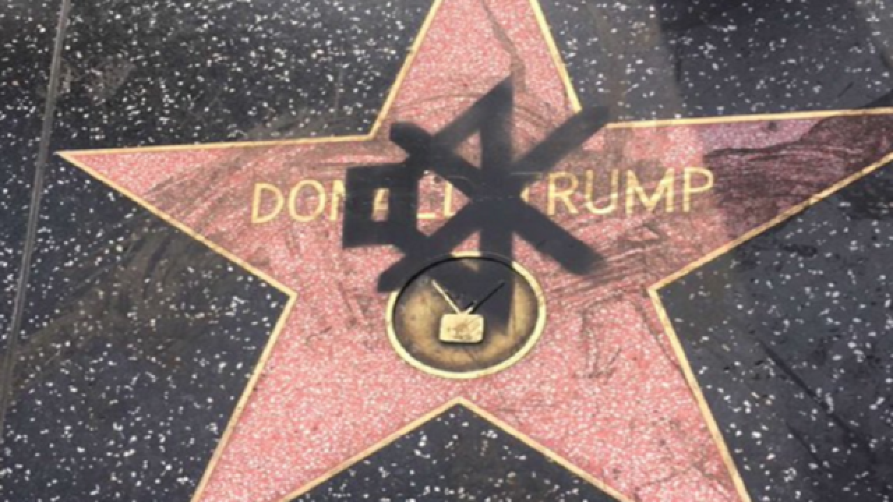 Trump's Walk of Fame Star is target for vandals