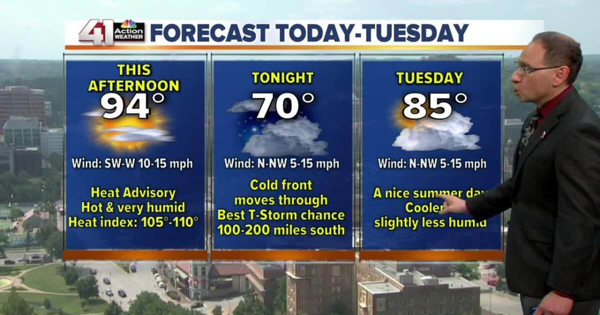 Hot this afternoon then an evening cold front, very low thunderstorm