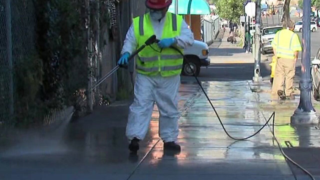 City cleaning streets amid hepatitis A outbreak