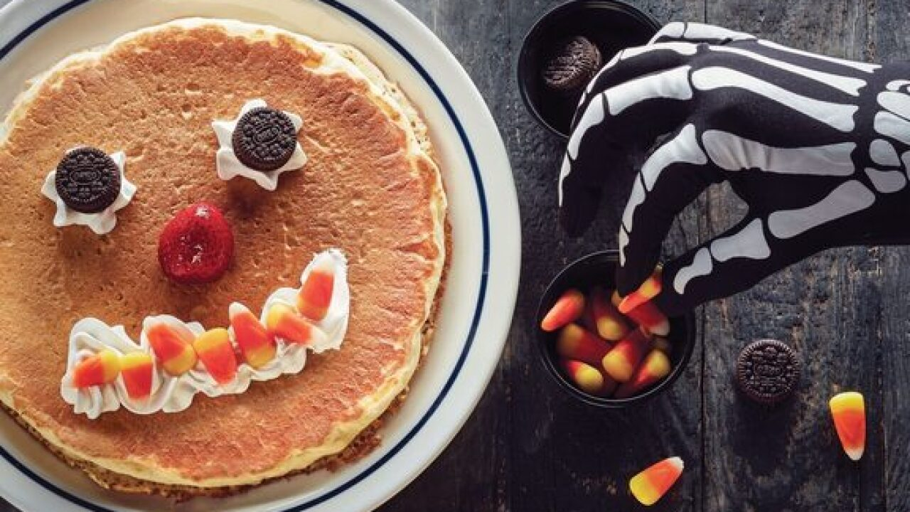 Kids get a free spooky pancake from IHOP on Halloween