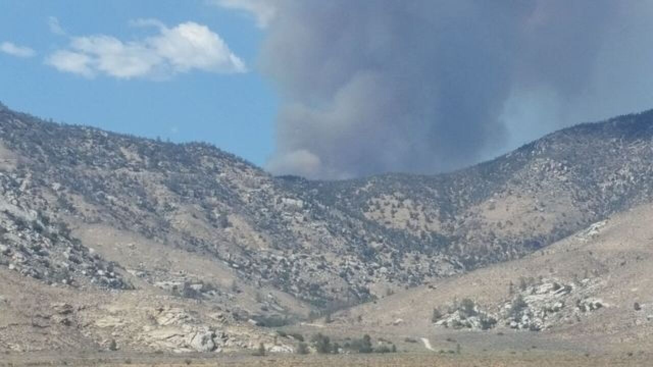 Chimney Fire smoke visible in Kern County
