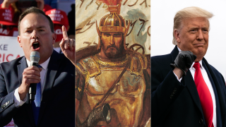 Senator Mike Lee, a depiction of Captain Moroni, and President Donald Trump