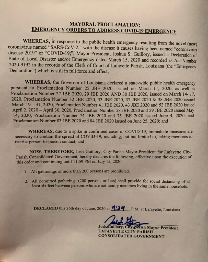 Emergency order amended on June 26