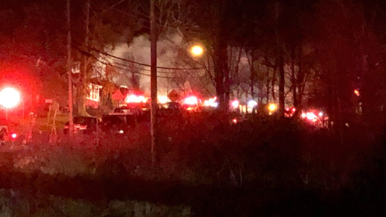 Otto VFD Crews work large house fire early Thursday morning.