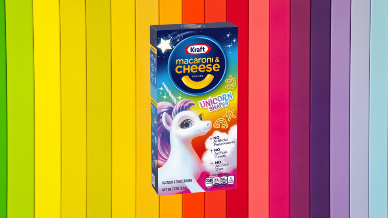 Kraft unveils unicorn shaped pasta for its classic mac and cheese