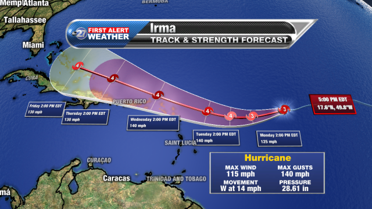 Hurricane Irma forecast cone, 9/3/2017 pm