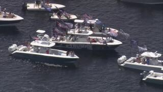Hundreds of boats gathered on Sunday, June 14, 2020 to celebrate President Trump's birthday.