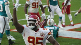 Kansas City Chiefs defensive tackle Chris Jones celebrates after sacking Miami Dolphins QB Tua Tagovailoa in 2020
