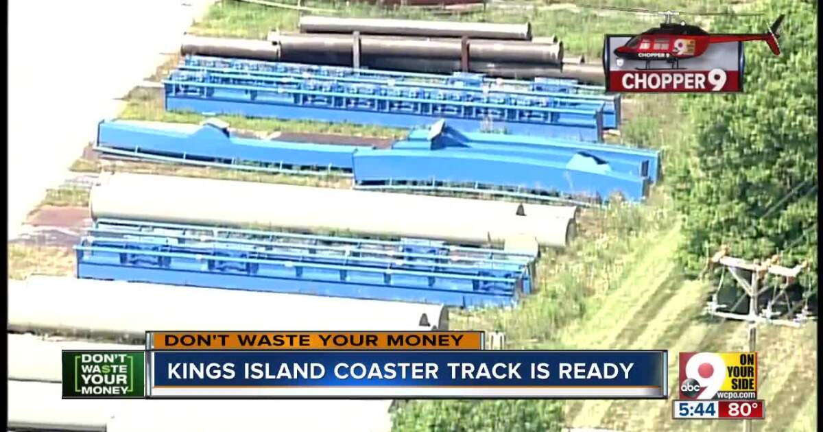 Kings Island new coaster track ready for assembly
