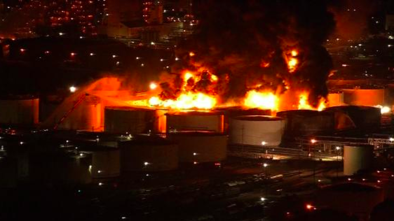 Massive fire continues to burn at Texas petrochemical plant