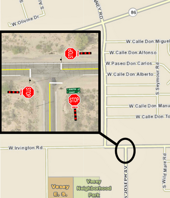 Pima County Department of Transportation will install an all-way stop at the intersection of  Irvington Road and Joseph Avenue Tuesday, March 23 between 7 a.m. and 12 p.m.
