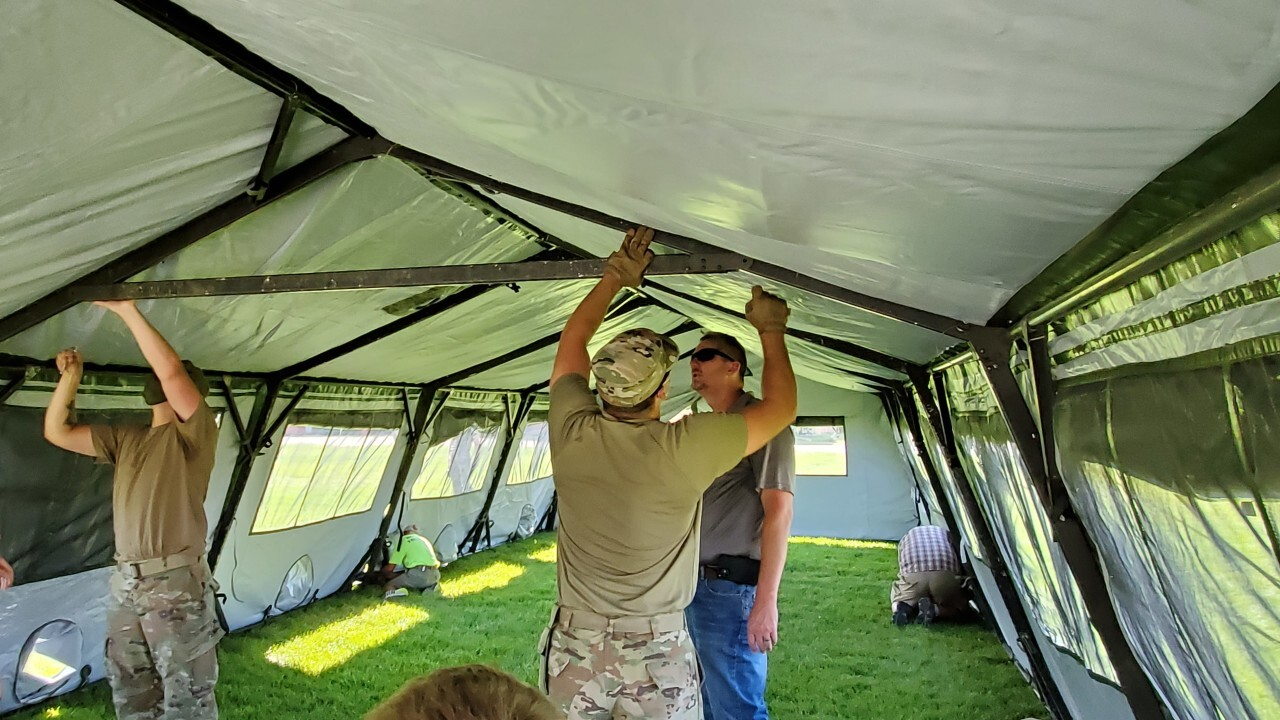 """Montana National Guard helps set up """"isolation shelters"""" in Helena"""