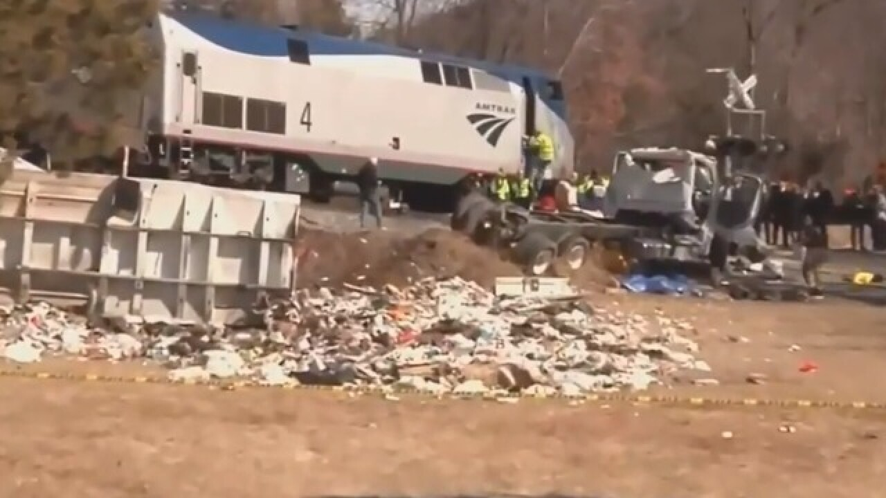 Train carrying Indiana lawmakers hits a truck