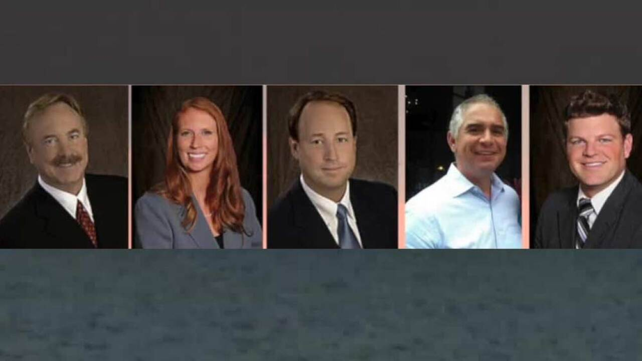 "Victims of the plane crash into the Lake Okeechobee on March 8, 2019. Eric A. Peterson (far left), Heather Bridwell, Edwin ""Ted"" Mortell III, Eduardo Mulet, Matthew Fiorello"