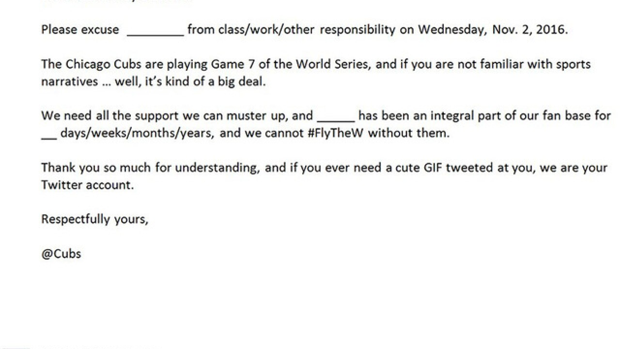Chicago Cubs release excuse note for fans