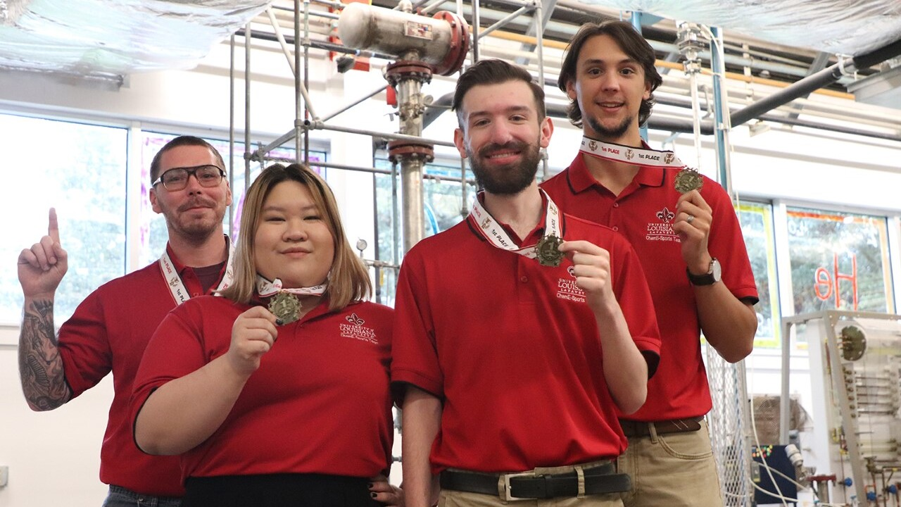 "UL Lafayette chemical engineering seniors David Shoemaker, Anh Tran, Matthew Crawford and Paul Robicheaux, placed first in a ""ChemEsports"" competition at the 2019 American Institute of Chemical Engineers student conference held recently in Orlando, Fla."