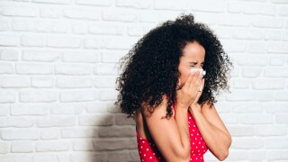 Sick Black Woman African American Girl Sneezing For Cold Allergy