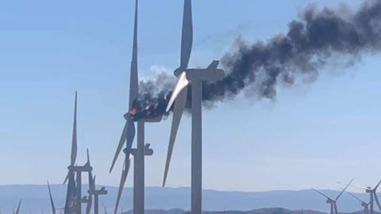 Kern County Fire working to put out windmill fire in Mojave