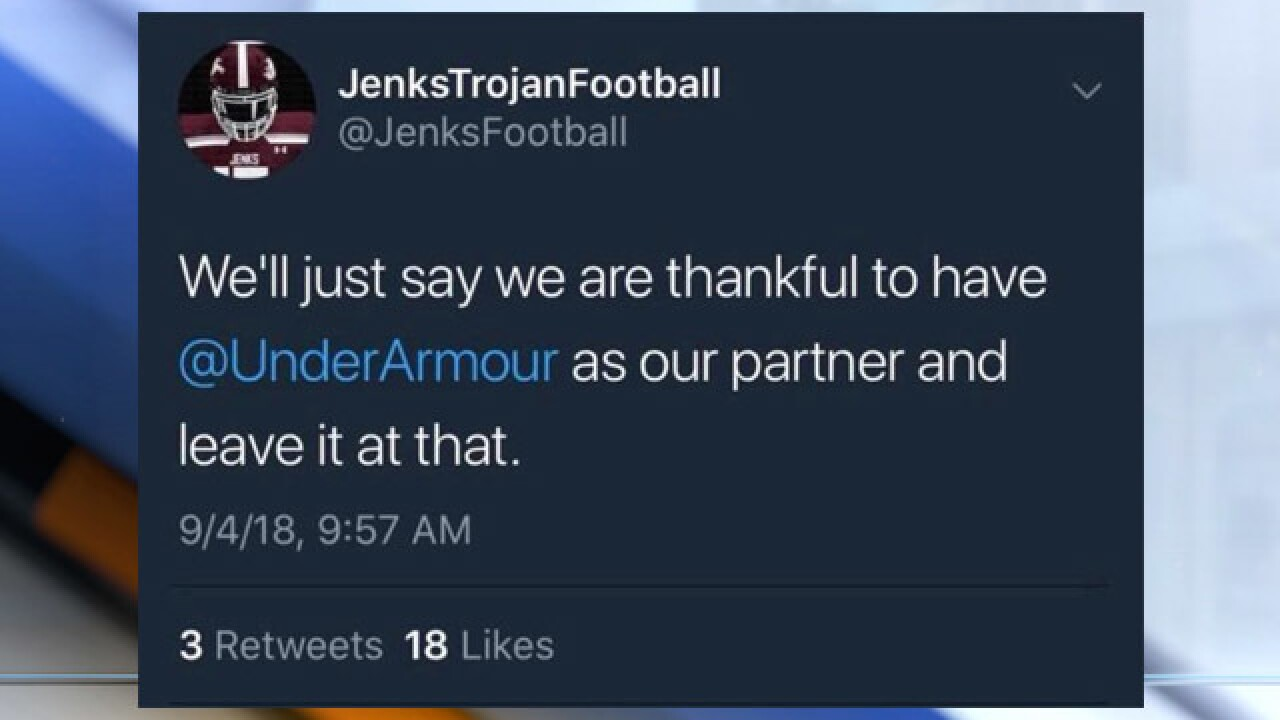 Jenks school district condemns tweet sent by football account