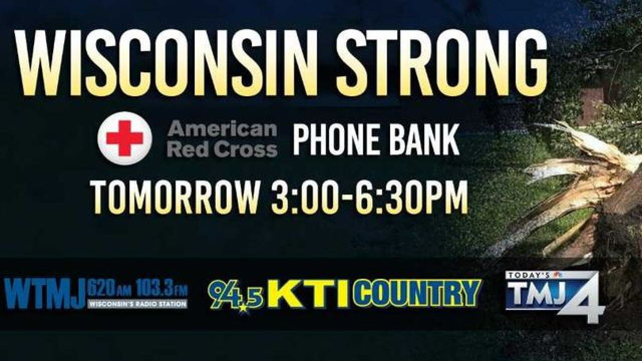 WTMJ Radio, KTI Country and TMJ4 will host a phone bank to bring relief to flooding victims
