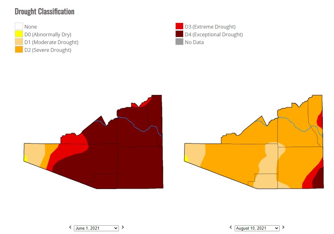 Comparing drought conditions in southern Arizona - June 1, 2021 to Aug. 10, 2021.
