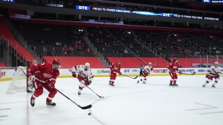 Opening Night limited crowd Little Caesars Arena Hurricanes Red Wings Hockey