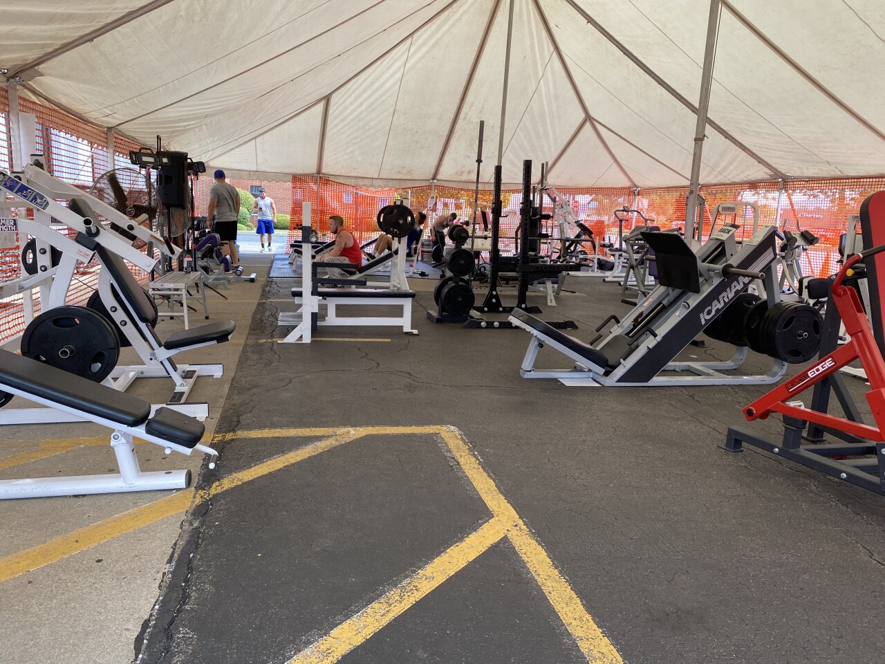 Inside the Eade Fitness 24/7 tent