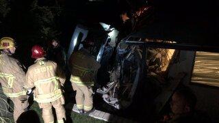 Car flies into home in Santa Ynez. Photo Courtesy: Santa Barbara County Fire