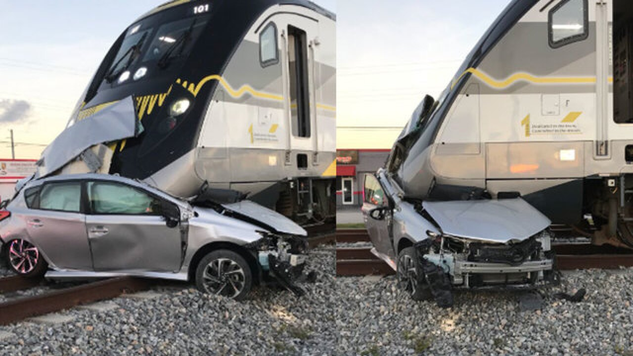 Brightline train smashes into unoccupied vehicle in Hallandale Beach