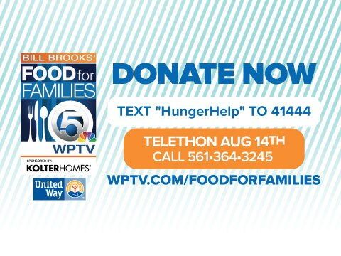'Food For Families Donate Now' button