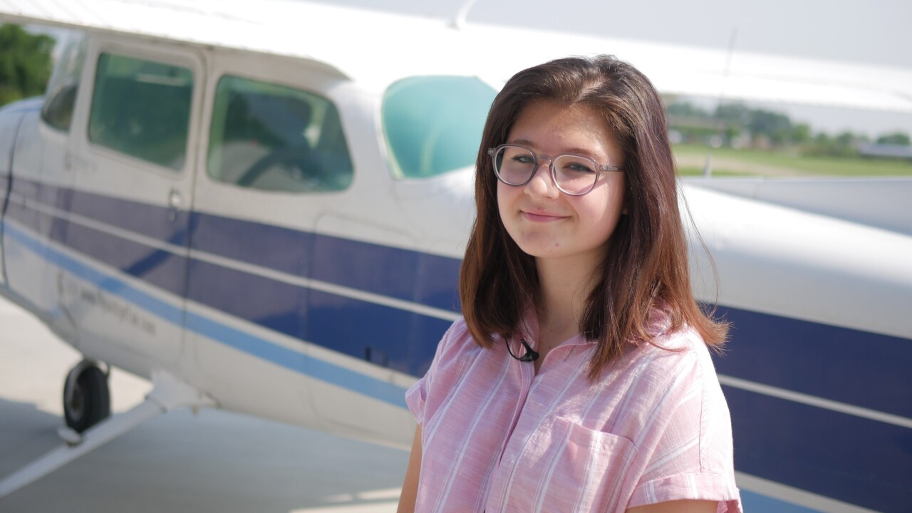 Student Katie Essex earned a scholarship to take part in the aviation training program