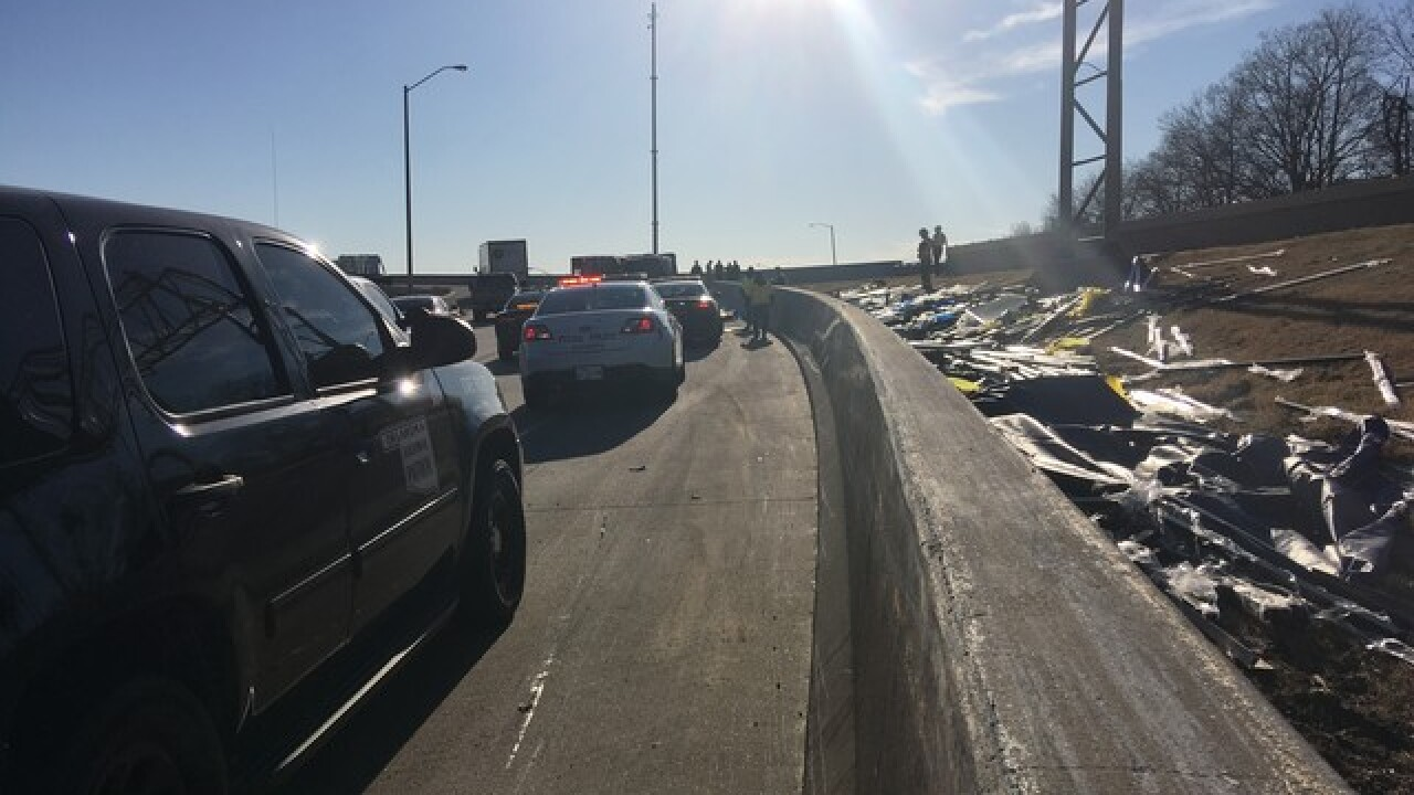 Crews respond to I-244 crash near downtown Tulsa