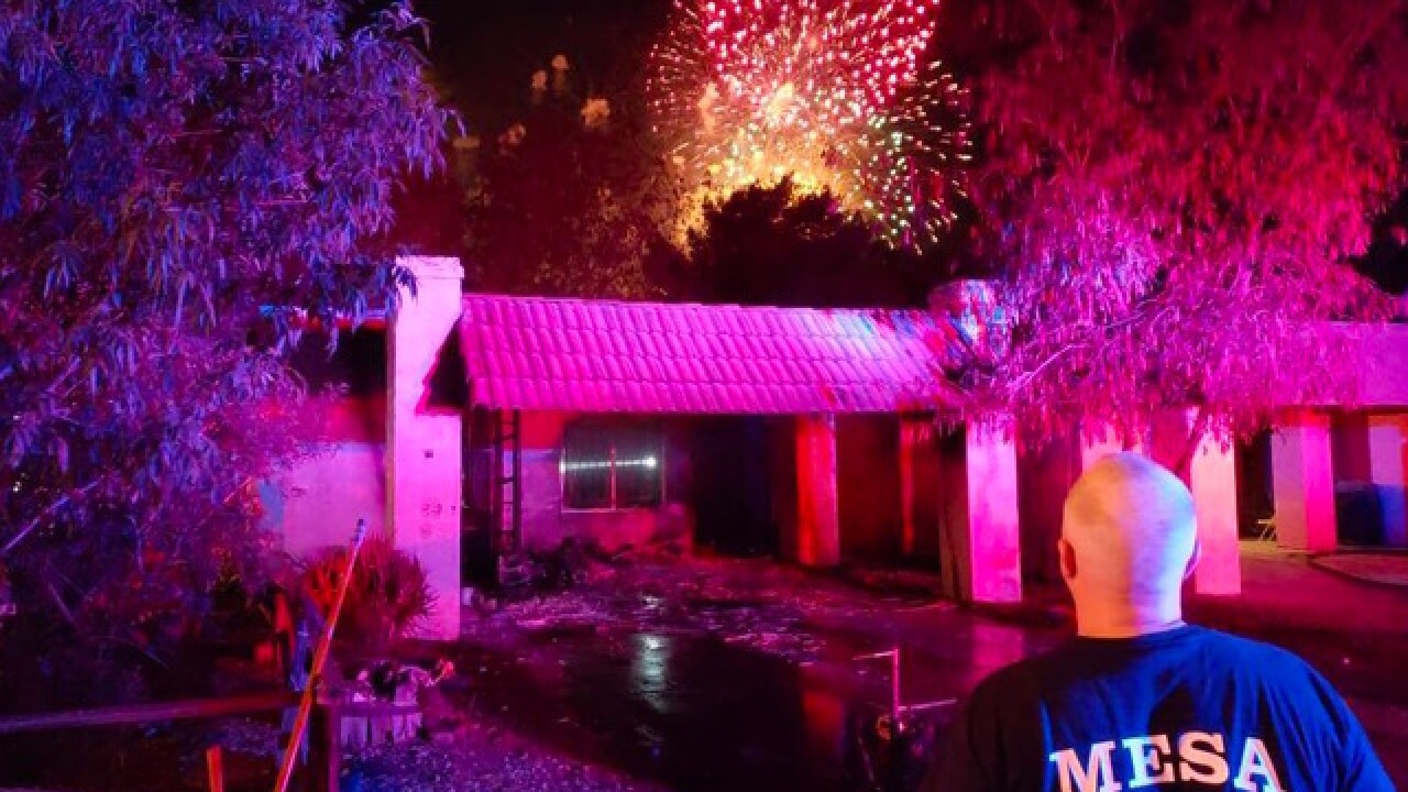 Discarded fireworks possibly to blame in Mesa house fires