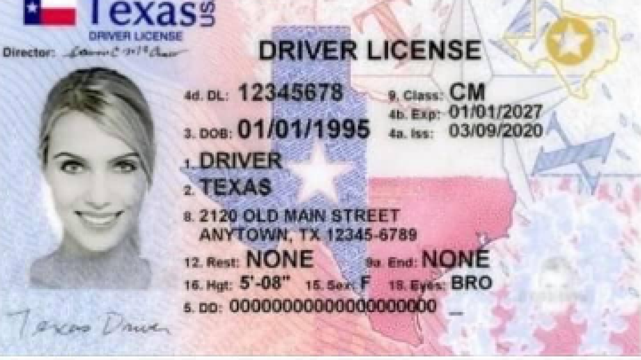 Texas Drivers License and Vehicle Registration Example