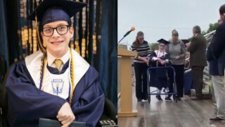 Student with cerebral palsy surprises classmates by walking graduation stage