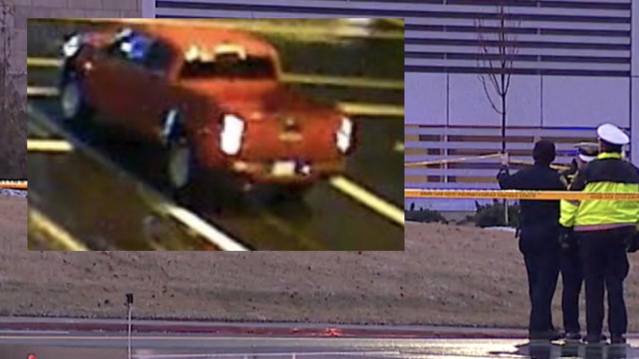 Pedestrian crash red pickup