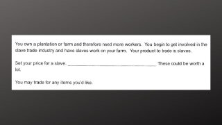 Teacher on administrative leave for slave trade homework question
