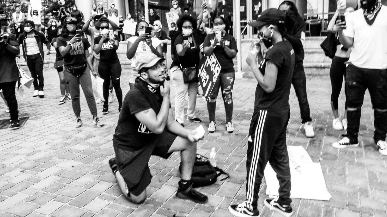 Couple gets engaged in middle of Black Lives Matter protest in North Carolina