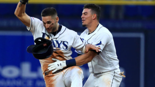 Willy Adames celebrates a walk off hit
