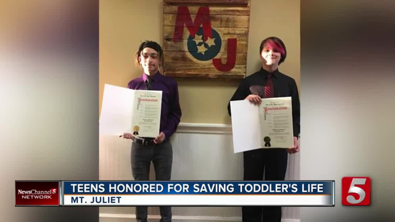 Mt. Juliet Teens Honored For Saving Toddler's Life