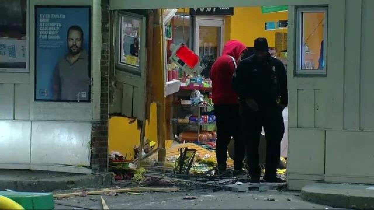 Woman nearly hit during smash-and-grab
