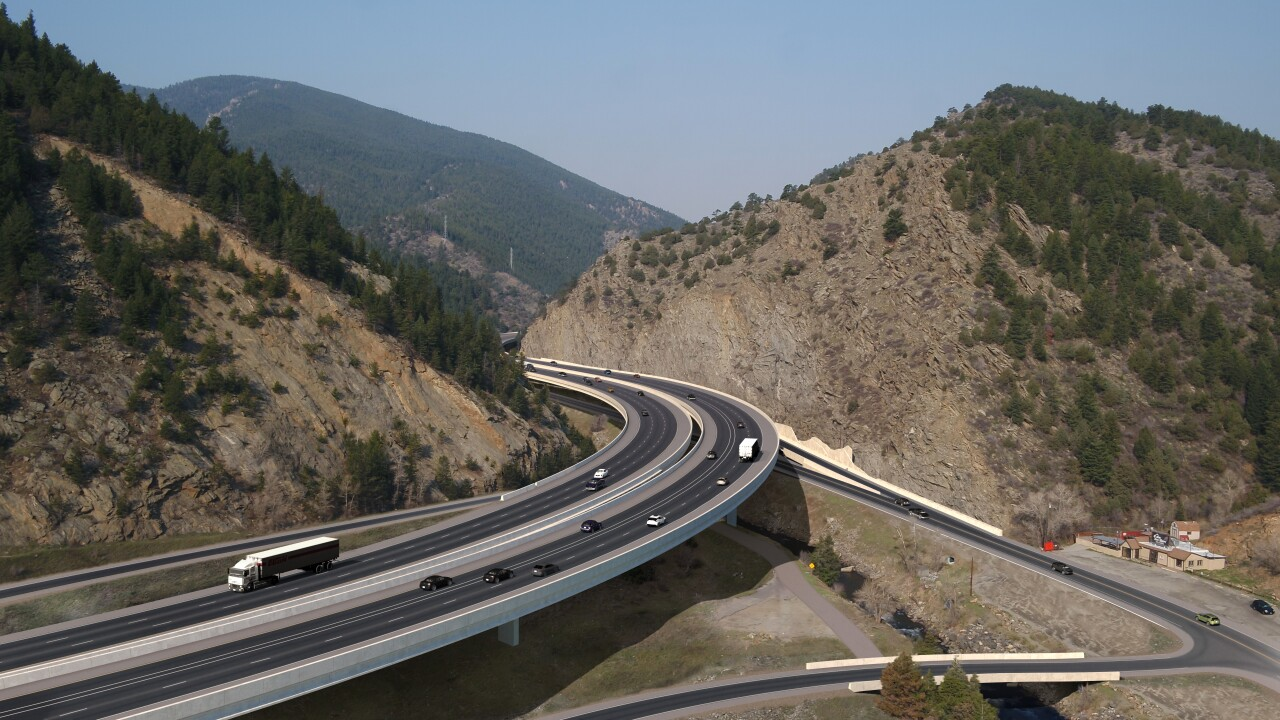 CDOT rendering I-70 over Clear Creek