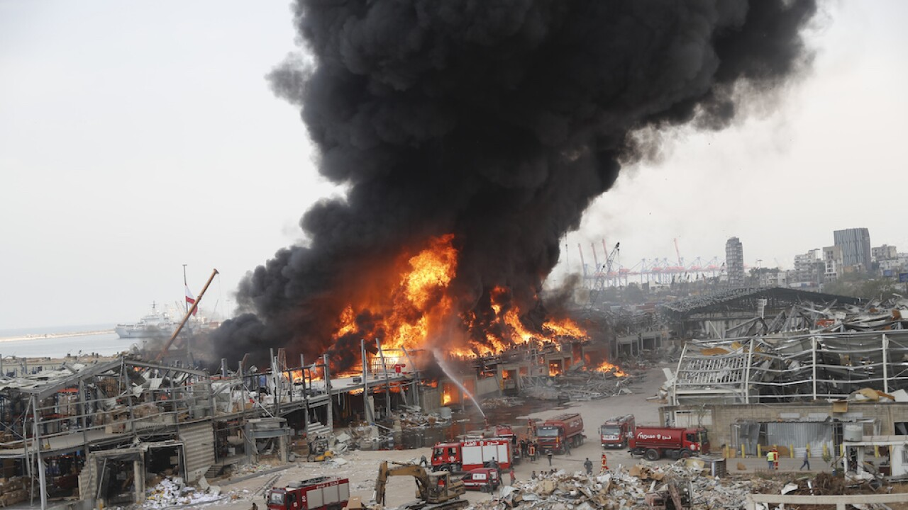 Giant fire breaks out at the port of Beirut, where massive explosion took place in August