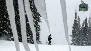 a skier takes advantage of the snowy conditions at Silver Mountain in Kellogg, Idaho.