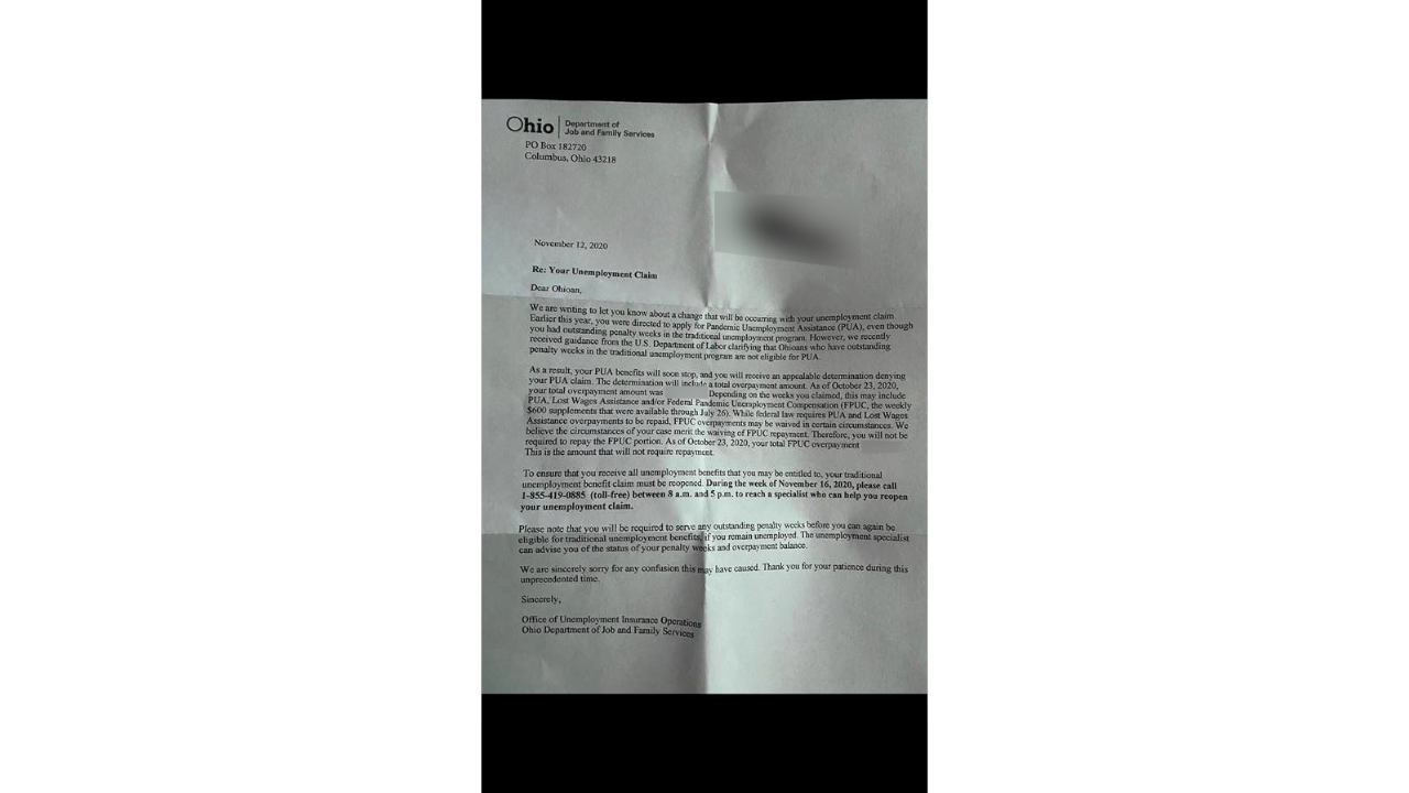 ODJFS letter to PUA recipient who must now pay back benefits