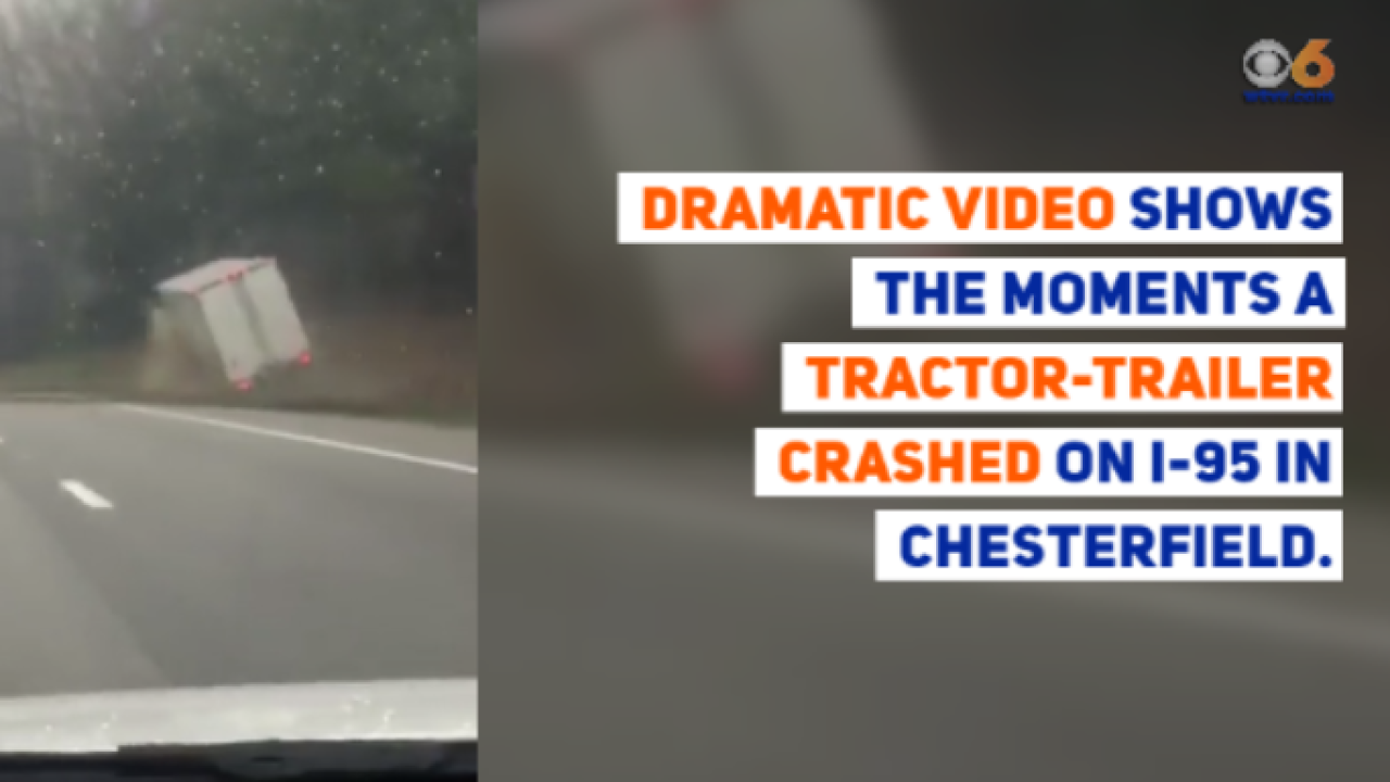 Video shows tractor-trailer crash into embankment on I-95 in Chesterfield