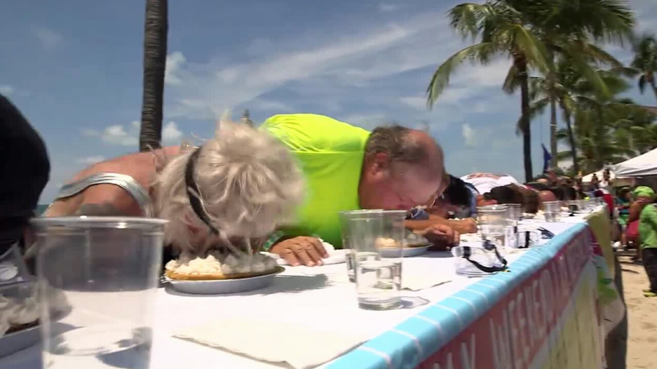 A Key West man devoured a whipped-cream-topped, 9-inch Key lime pie in just 58.2 seconds to take the top prize in the annual July Fourth pie eating contest on July 4, 2019.