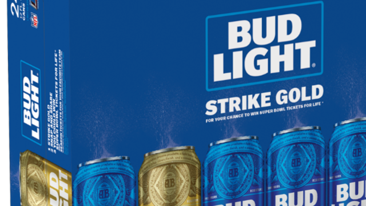 Find the gold Bud Light can for a chance at lifetime Super Bowl tickets