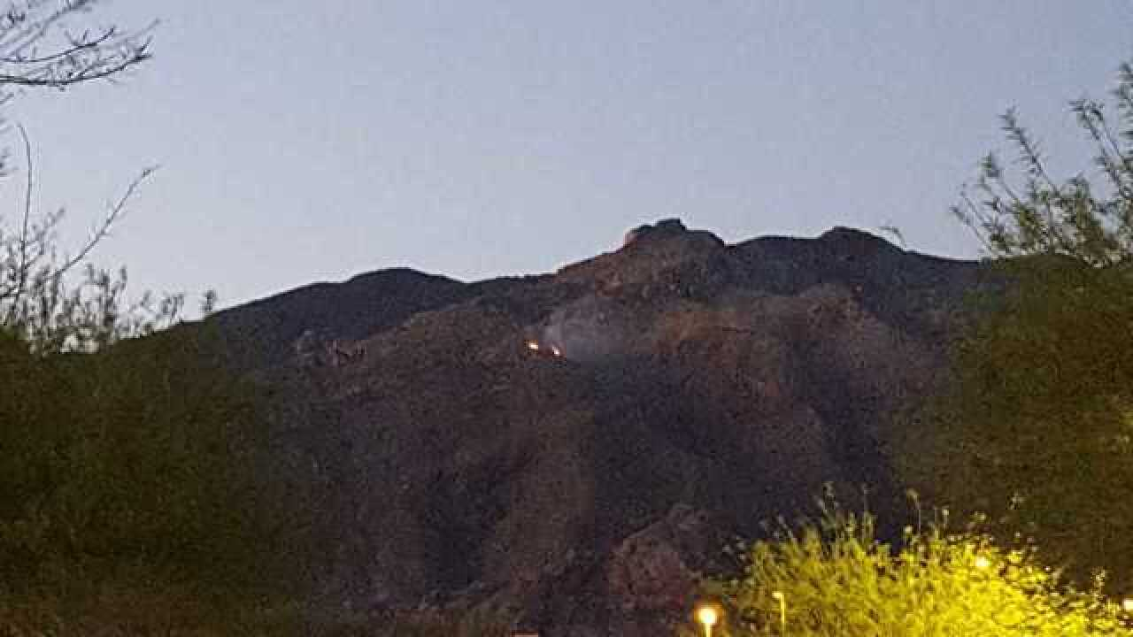 Fire burning in Catalina Mountains