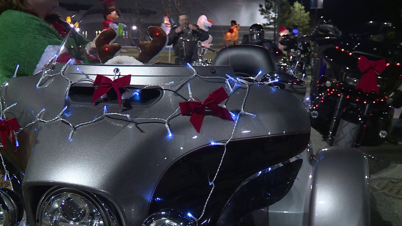 Motorcycles 'rigged out' for toy ride at Illuminate Light Show